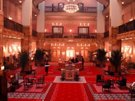 Another wide shot of the Grand Budapest Hotel's lobby.