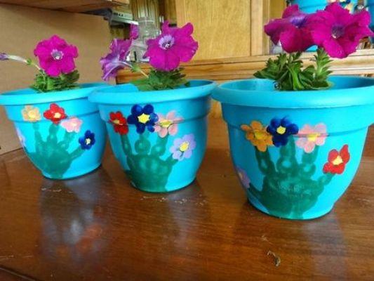 hand flowers pot