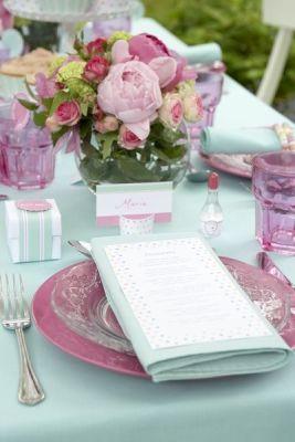 mint purple table