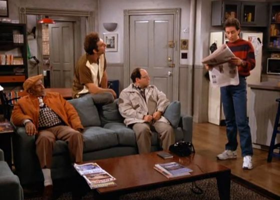 boys day in Seinfeld apartment
