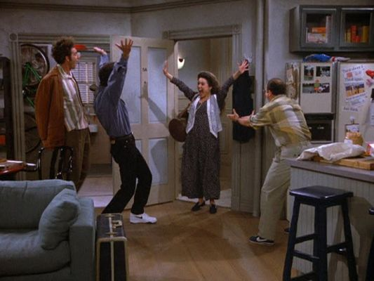warm welcome Seinfeld gang apartment