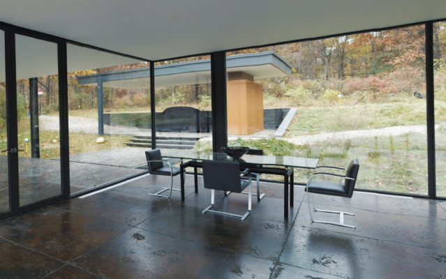 glass house dining set
