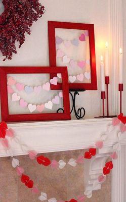 framed hearts mantel