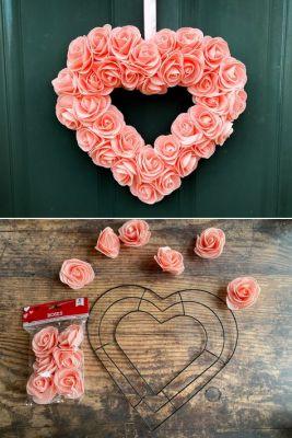 pink flower valentine wreath