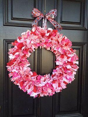 red fabric wreath