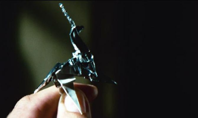 Gaff's final origami taunt to Deckard, the unicorn