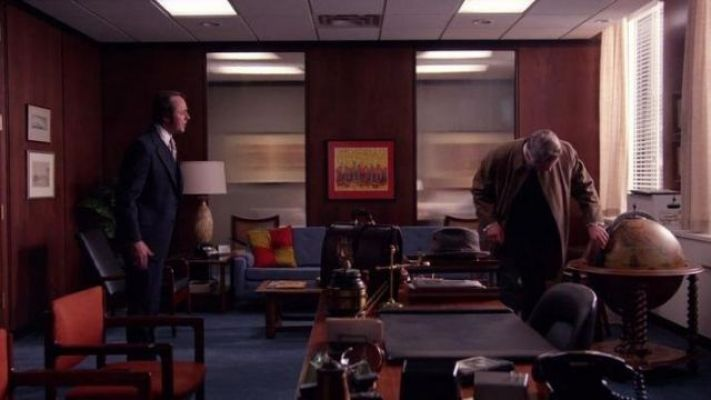 Pete Campbell and Roger Sterling inside Campbell's office