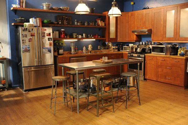 Wide shot of the gang's kitchen.