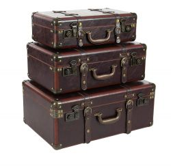 Deco 79 Wood and Leather Vintage Suitcases
