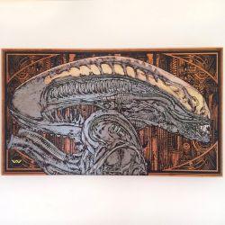 Alien Head, Xenomorph, Engraved on Wood