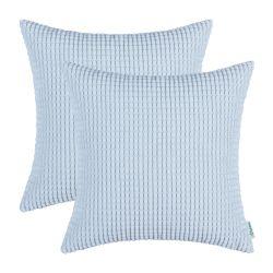 CaliTime Pack of 2 Comfy Throw Pillow, Light Blue