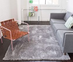 Well Woven Shimmer Shag Silver Grey Area Rug