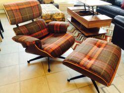 Tartan Fabric Eames Lounge Chair and Ottoman