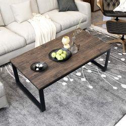 Aingoo Rustic Coffee Table, Dark Brown
