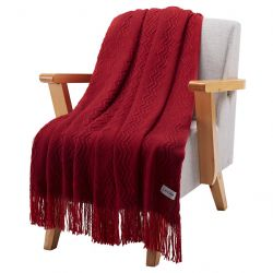 LANGRIA Soft Comfortable Throw Blanket with Tassels, Wine
