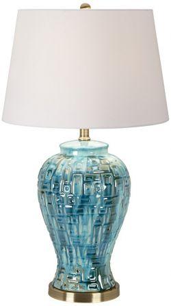 Possini Euro Design Teal Temple Jar Table Lamp