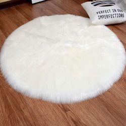 YJ.GWL White Round Faux Sheepskin Fur Area Rug