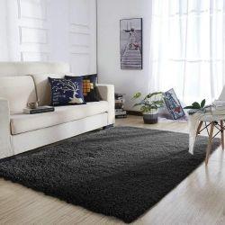 YOH Super Soft Polyester Fiber Area Rugs, Black