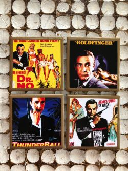James Bond 007 Poster Coasters with Gold Trim