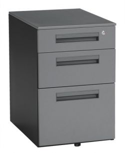 OFM Mobile Pedestal with Three Locking Drawers, Grey Steel