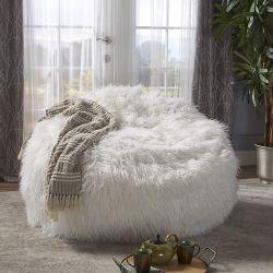 GDF Studio Lycus Faux Fur Bean Bag Chair, White