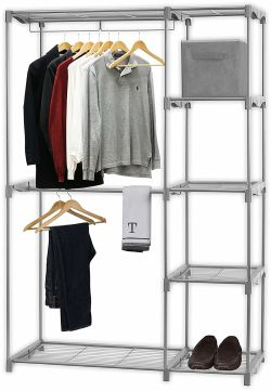 Simple Houseware Freestanding Clothes Garment Organizer Closet, Silver