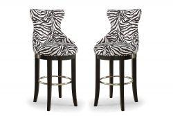 Baxton Studio Zebra-Print Fabric Bar Stool