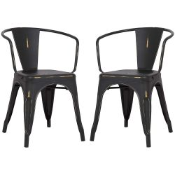 POLY & BARK Trattoria Arm Chair in Distressed Black