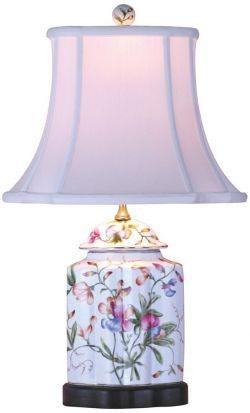Universal Lighting and Décor Floral Scalloped Porcelain Tea Jar Table Lamp
