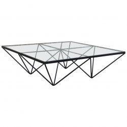 Paolo Piva Square Black Metal Coffee Table