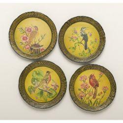 AA Importing 4 Piece Handpainted Bird Plate Set