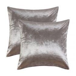 GIGIZAZA Siver Grey Velvet Decorative Pillow Covers