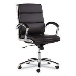 Alera Neratoli Series Mid-Back Swivel Chair, Black Leather