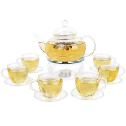 Kendal Glass Filtering Tea Maker Teapot with 6 Tea Cups