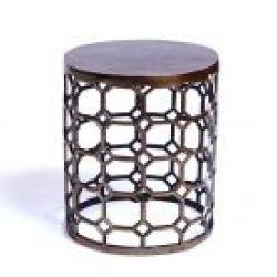 Lattice Round Side Table, Brass Antique