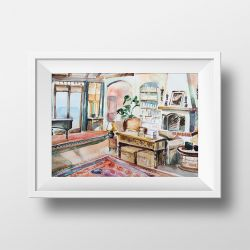 Two and a Half Men Living Room Watercolor Print