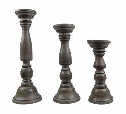 Cotton Craft 3 Piece Wooden Candle Holder Set