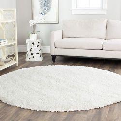Safavieh California Premium Shag Collection, White Round Area Rug