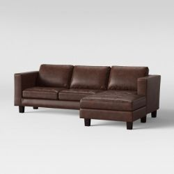 Edgemere Sectional Sofa and Large Ottoman, Faux Leather Brown