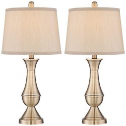 Regency Hill Becky Antique Brass Metal Table Lamp Set of 2