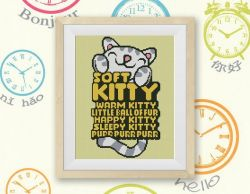 Soft Kitty, Warm Kitty Cross Stitch Pattern