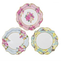 Talking Tables Truly Scrumptious Floral Plates for Tea Party, Wedding, Multicolor
